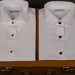 Are black buttons acceptable on white dress shirts?